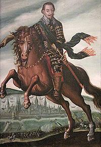 Målning av Gustav II Adolf till häst av Jacob van der Heyden. Källa: Wikimedia Commons.