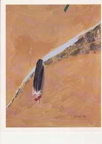 Oljemålning av Matti Alenius föreställande en fågelfjäder mot orange bakgrund