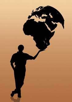 Man håller jordklotet i sin hand