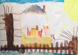 Barnteckning som föreställer Pippis hus.