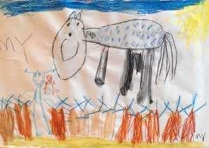Barnteckning som föreställer Pippis häst Lille Gubben.
