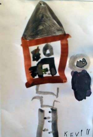 Barnteckning som föreställer Pippi Långstrumps hus.