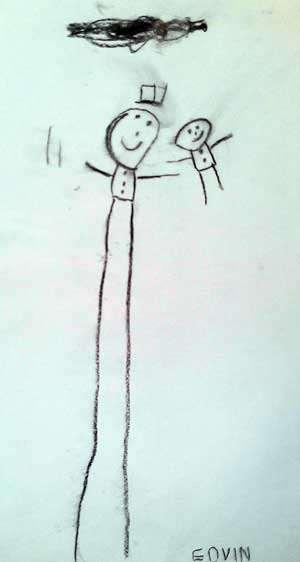 Barnteckning föreställande Rasmus och luffaren på promenad.