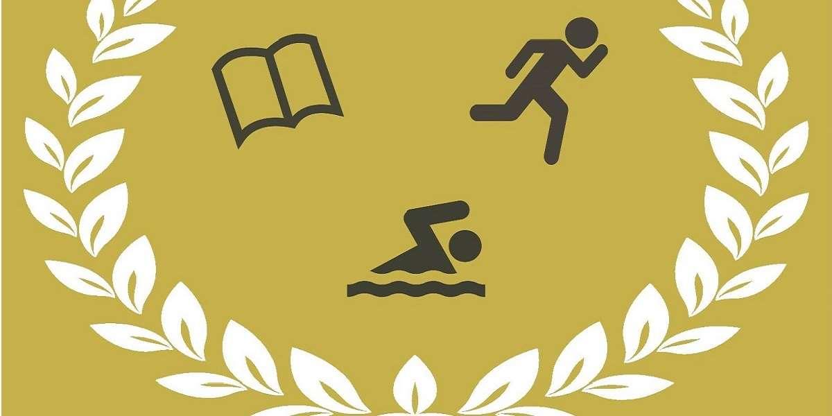 Krans med symbol för en bok, en person som simmar och en person som springer