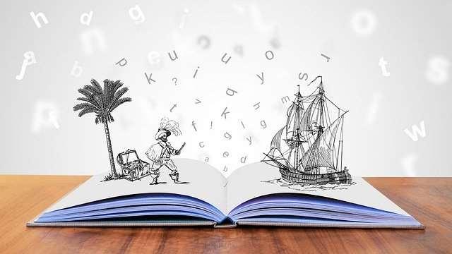 Bild på bok där det kommer ut figurer/teckningar på ett fartyg och bokstäver
